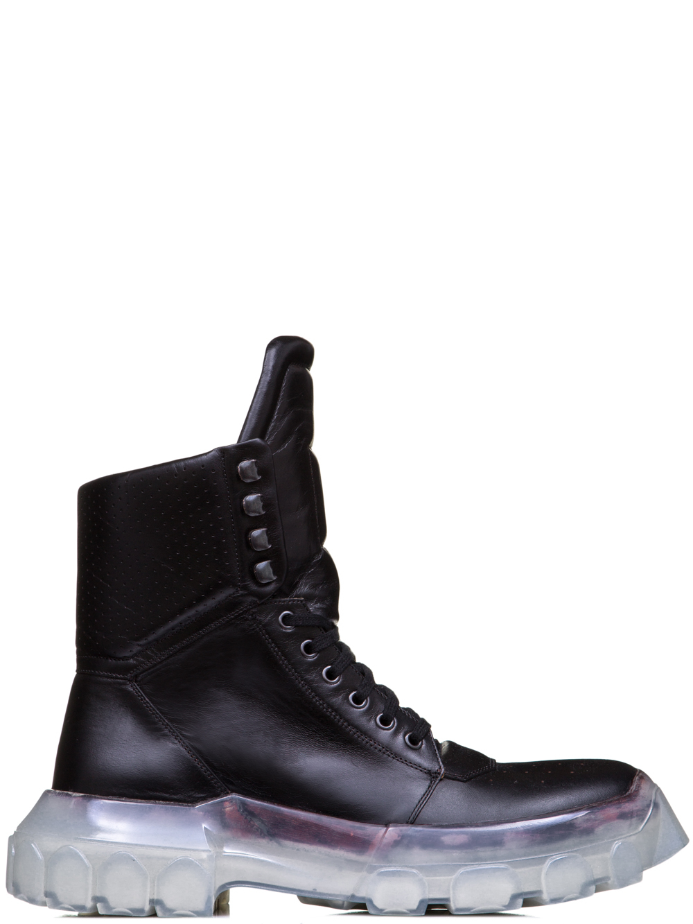 RICK OWENS OFF-THE-RUNWAY TRACTOR DUNK BOOTS IN BLACK