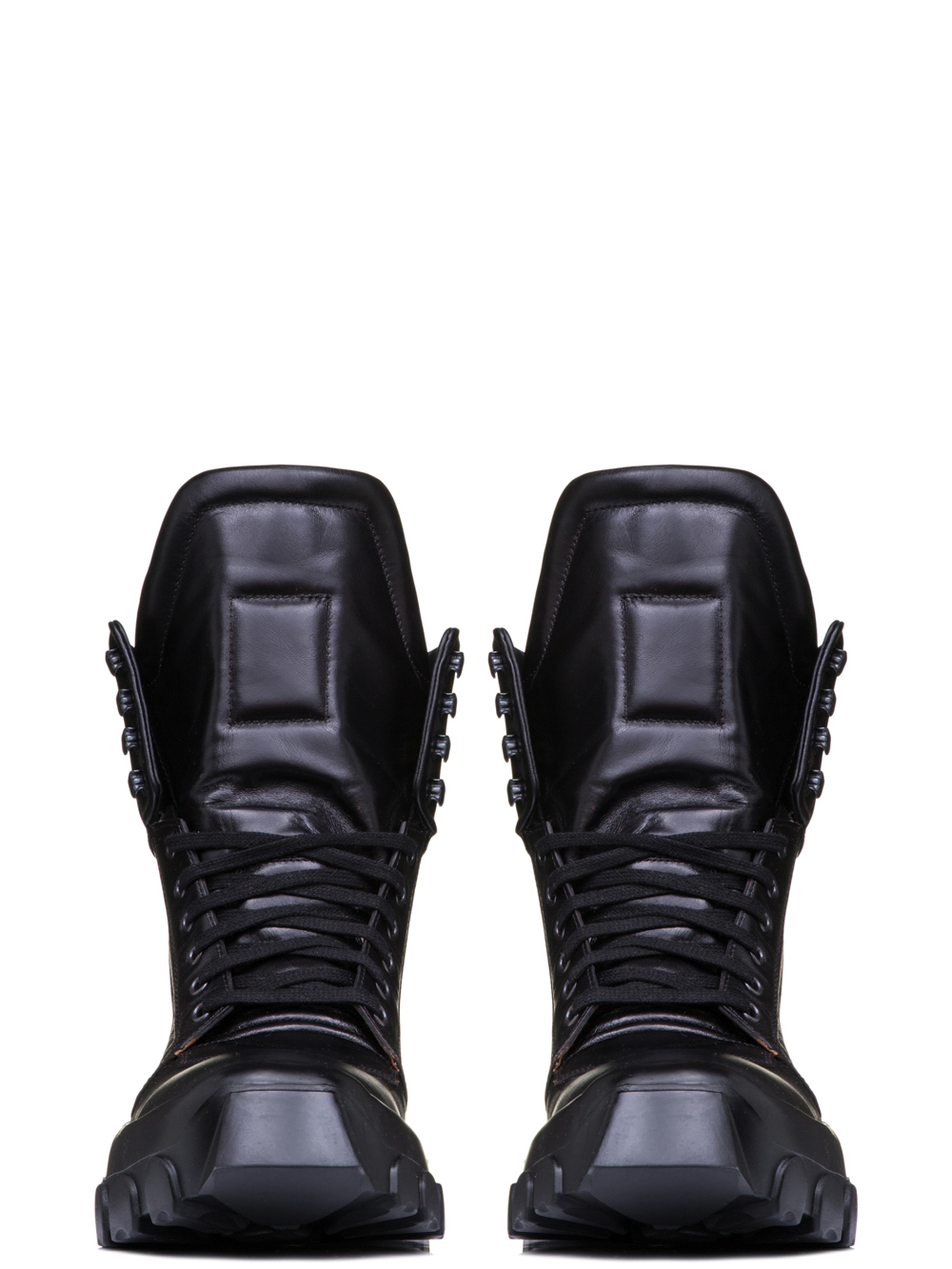 RICK OWENS OFF-THE-RUNWAY TRACTOR DUNK BOOTS IN BLACK HORSE LEATHER