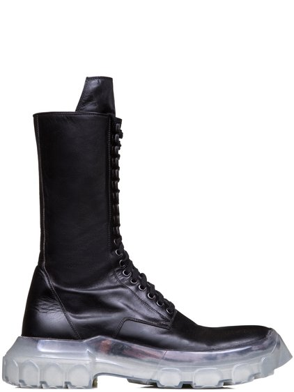RICK OWENS FW18 SISYPHUS OFF-THE-RUNWAY LACE UP TRACTOR BOOTS
