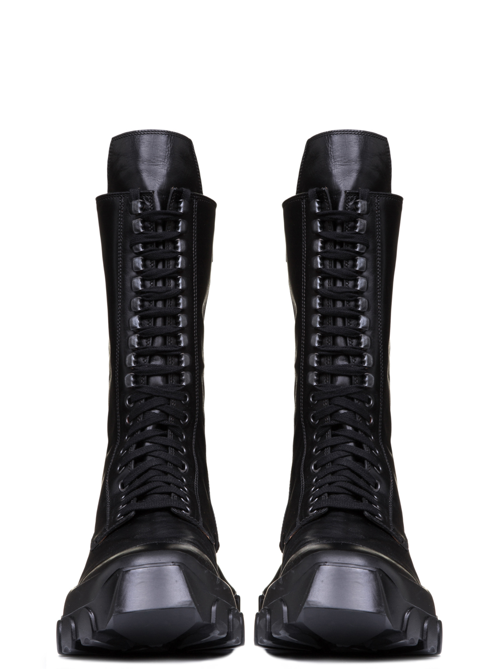 RICK OWENS OFF-THE-RUNWAY LACE UP TRACTOR BOOTS IN BLACK HORSE LEATHER