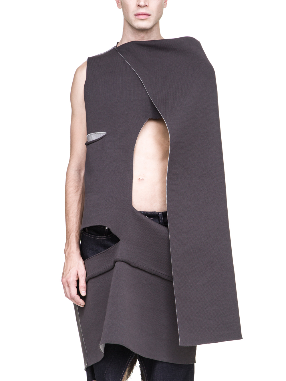 RICK OWENS OFF-THE-RUNWAY CAPE TOP IN DARKDUST GREY