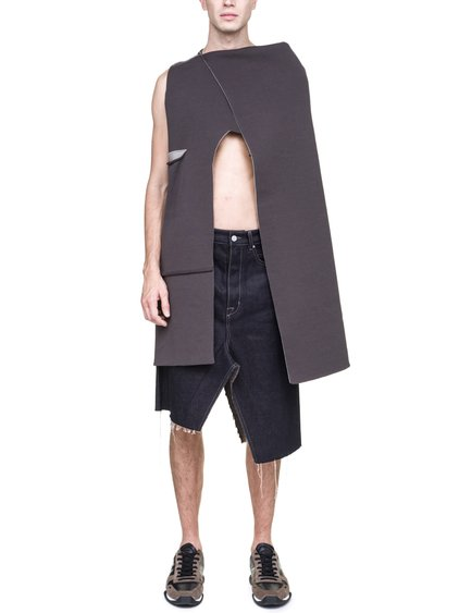 RICK OWENS OFF-THE-RUNWAY MANTLE TOP IN GREY AND BEIGE