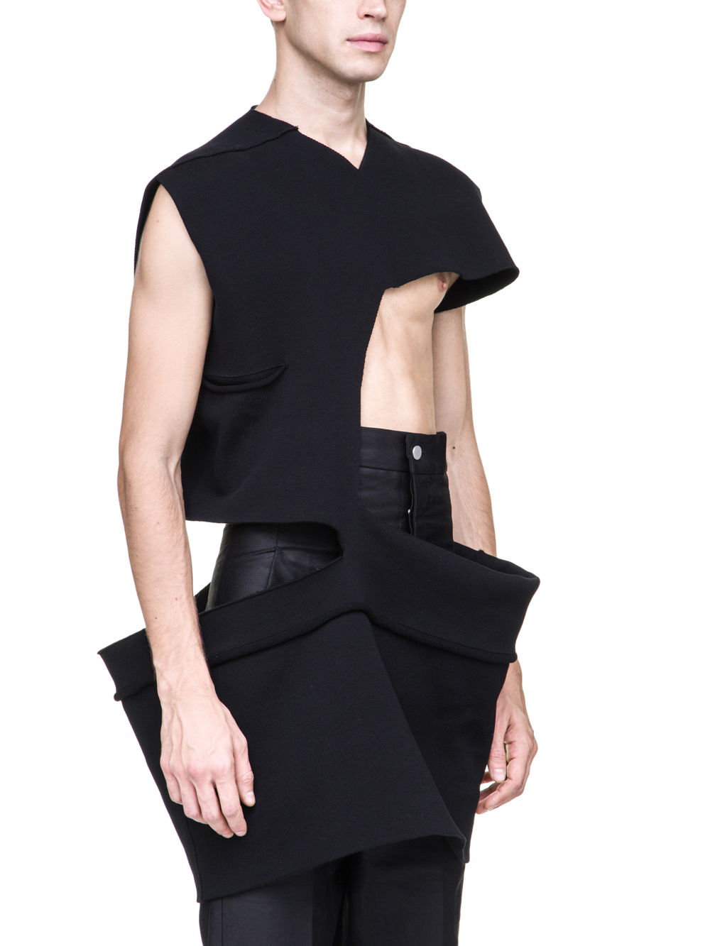 RICK OWENS OFF-THE-RUNWAY MINISHRED TOP IN BLACK SCULPTURE KNIT
