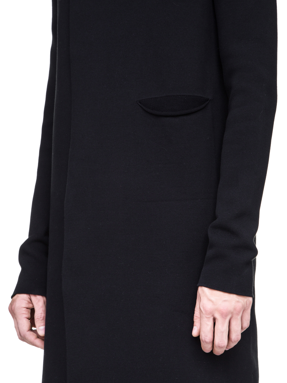 RICK OWENS OFF-THE-RUNWAY NARROW CARDIGAN WITH SLEEVES IN BLACK SCULPTURE KNIT