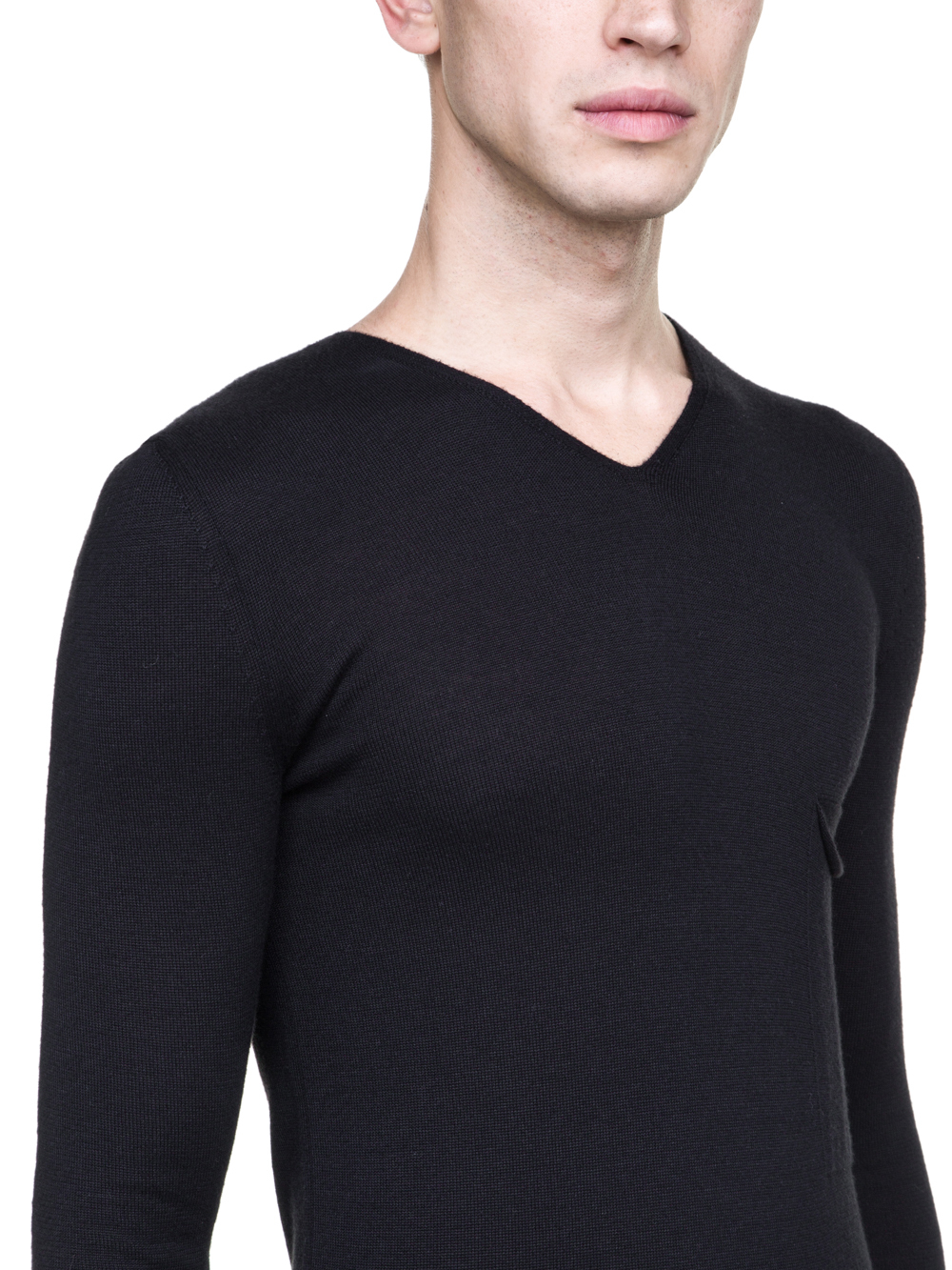 RICK OWENS OFF-THE-RUNWAY LONG-SLEEVE TEE IN BLACK CASHMERE