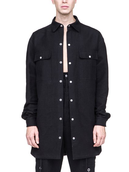 RICK OWENS OFF-THE-RUNWAY OVERSIZED OUTERSHIRT IN SILK BLEND MOLESKIN