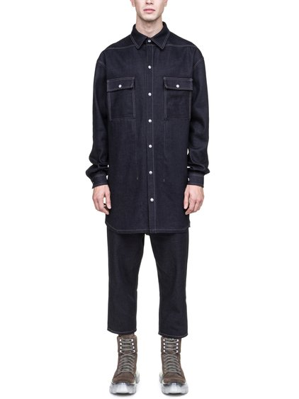 RICK OWENS OFF-THE-RUNWAY OVERSIZED OUTER SHIRT IN 18OZ INDIGO DIRTY WEFT DENIM