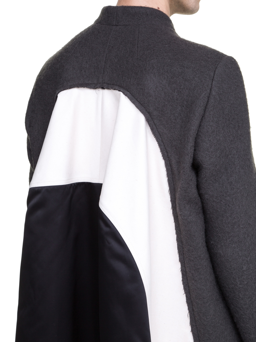 RICK OWENS OFF-THE-RUNWAY WRAP FLAG COAT IN GREY