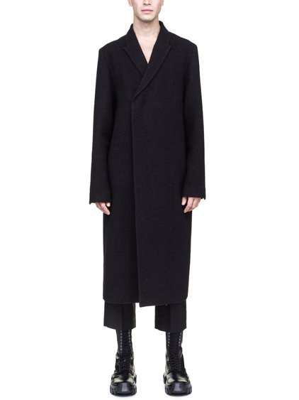 RICK OWENS OFF-THE-RUNWAY FLAG COAT IN BROWN BLACK