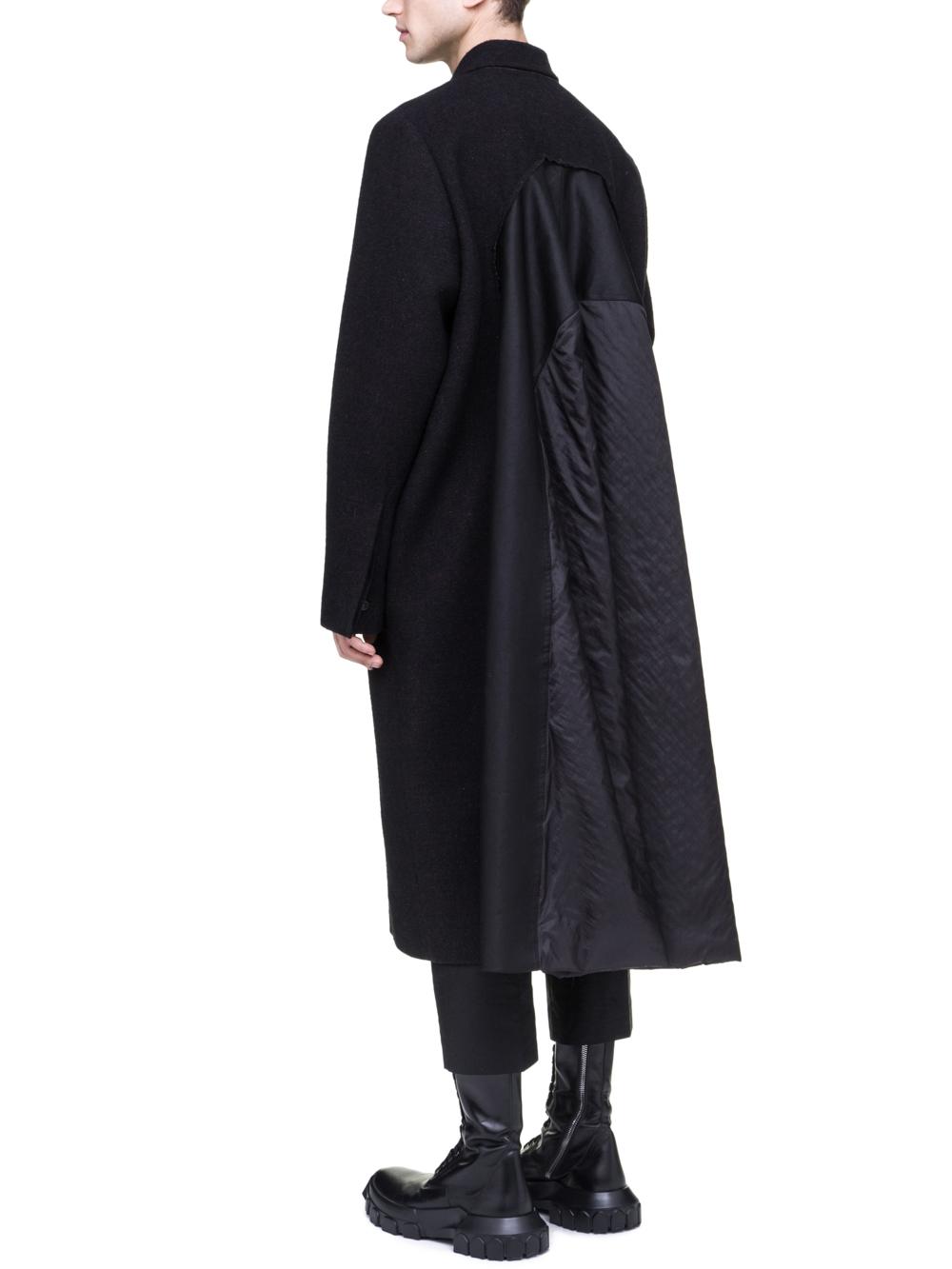 RICK OWENS OFF-THE-RUNWAY FLAG COAT IN BROWN BLACK