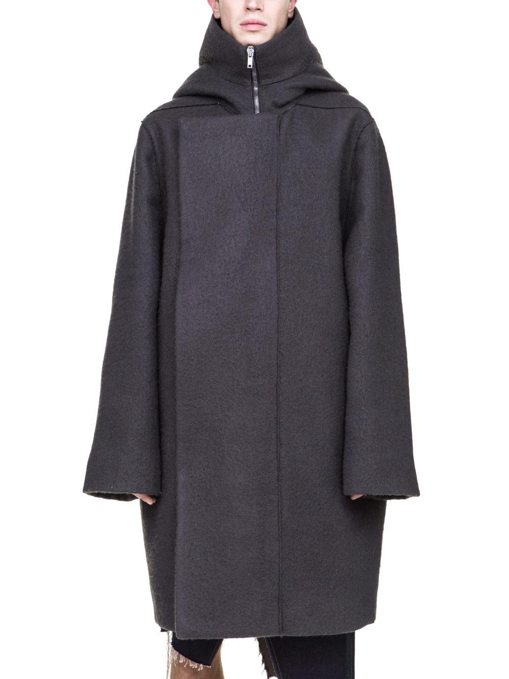 RICK OWENS OFF-THE-RUNWAY SECRET PARKA IN GREY BOILED WOOL
