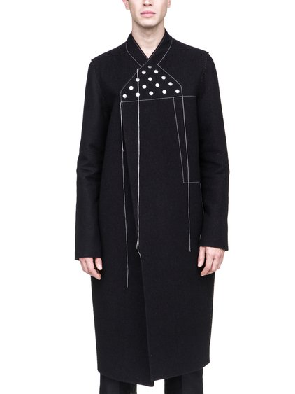 RICK OWENS OFF-THE-RUNWAY WRAP COAT IN BROWN BLACK BERBER BLANKET