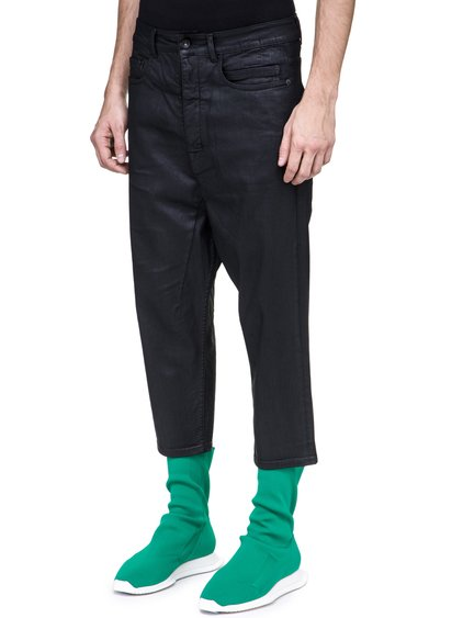 DRKSHDW COLLAPSE CUT JEANS IN 10OZ STRETCH BLACK WAX DENIM