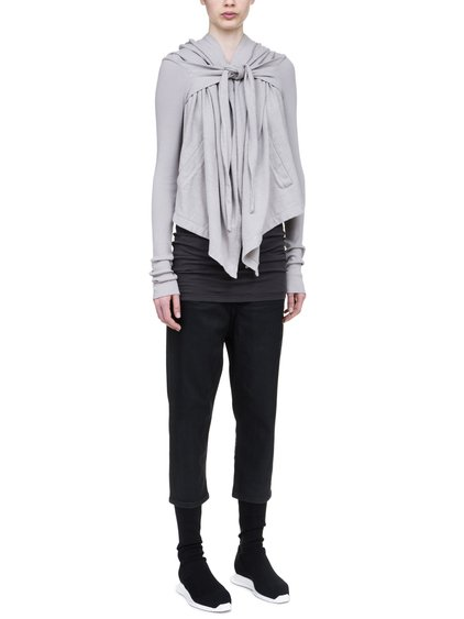 DRKSHDW CROPPED HOODED WRAP IN PEARL BEIGE MEDIUMWEIGHT COTTON JERSEY