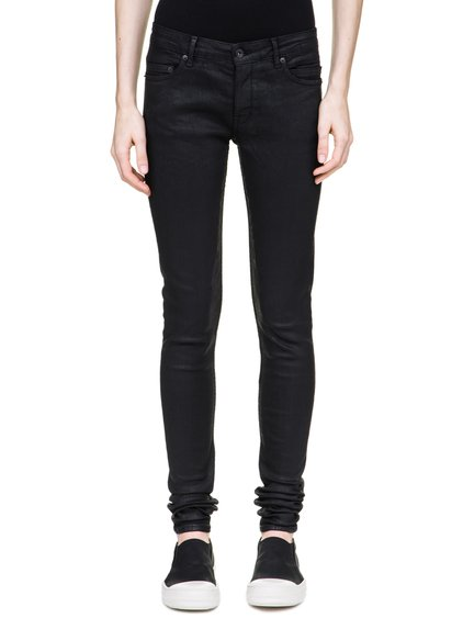 DRKSHDW DETROIT CUT JEANS IN 10OZ STRETCH BLACK WAX DENIM