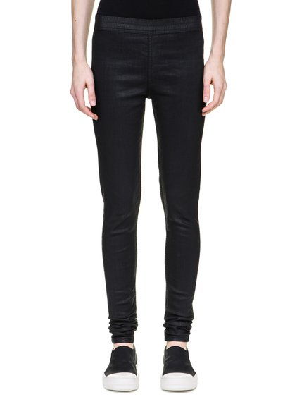 DRKSHDW SIMPLE LEGGINGS IN 10OZ STRETCH BLACK WAX DENIM