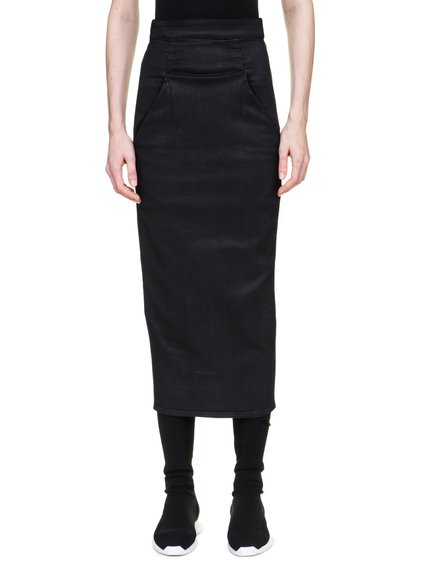 DRKSHDW DIRT PILLAR CALF-LENGTH SKIRT IN 10OZ STRETCH BLACK WAX DENIM