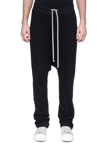 DRKSHDW DRAWSTRING LONG PANTS IN BLACK MEDIUMWEIGHT COTTON