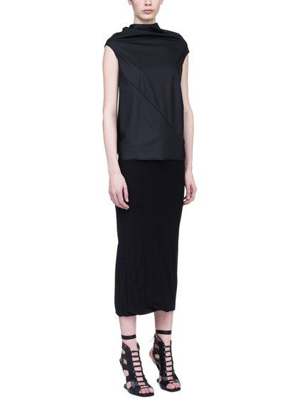 RICK OWENS LILIES TOP IN BLACK RUBBER JERSEY
