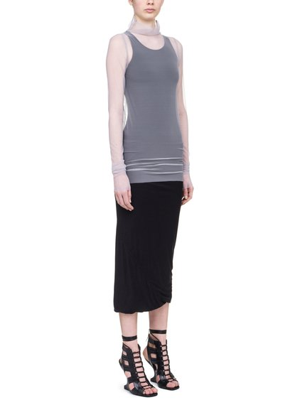 RICK OWENS LILIES T-SHIRT IN PEARL BEIGE TULLE
