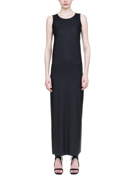 RICK OWENS LILIES ROUND NECK SLIP DRESS IN BLACK