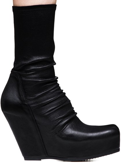 RICK OWENS SOCK WEDGES IN STRETCH LAMB LEATHER