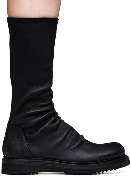 RICK OWENS CREEPER SOCK BOOTS IN BLACK STRETCH LAMB LEATHER
