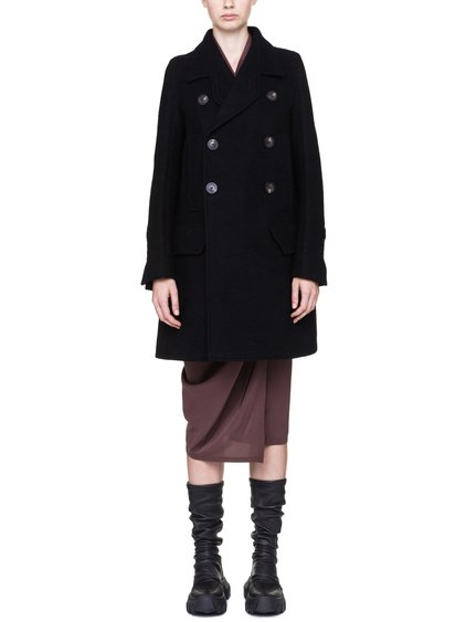 RICK OWENS MILITARY PEA COAT IN BLACK BOILED WOOL