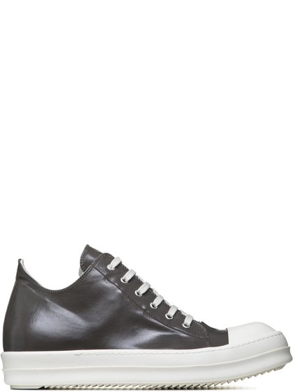 DRKSHDW LOW SNEAKERS IN DUST GREY LACQUERED COTTON