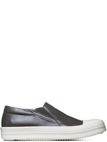 DRKSHDW BOAT SNEAKERS IN DUST GREY LACQUERED COTTON