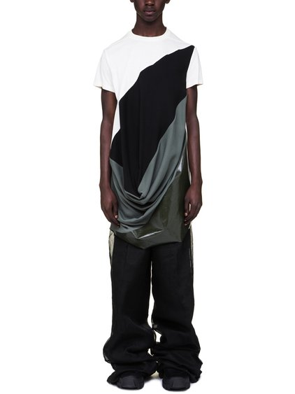 RICK OWENS OFF-THE-RUNWAY SUPERHUMAN TOP IN NATURAL WHITE BLACK AND SAGE GREEN