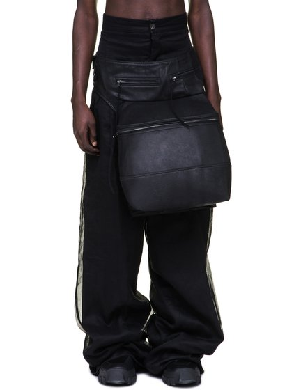 RICK OWENS  OFF-THE-RUNWAY CARGO CHAP BAG IN BLACK CALF LEATHER