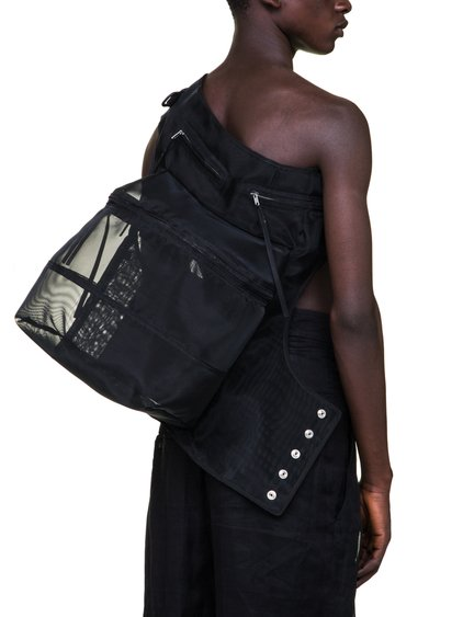 RICK OWENS OFF-THE-RUNWAY CARGO CHAP BAG IN BLACK NYLON MESH IS SEE-THROUGH