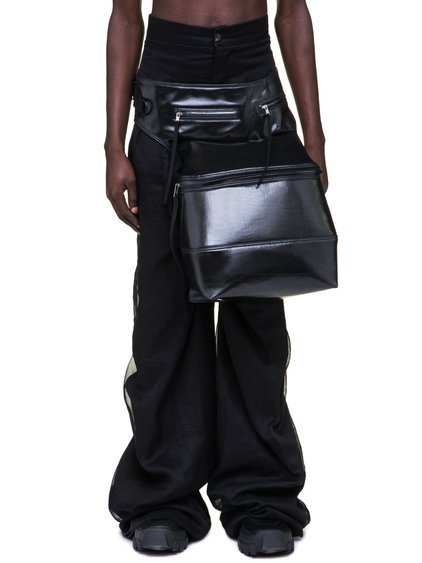 RICK OWENS OFF-THE-RUNWAY CARGO CHAP BAG IN BLACK