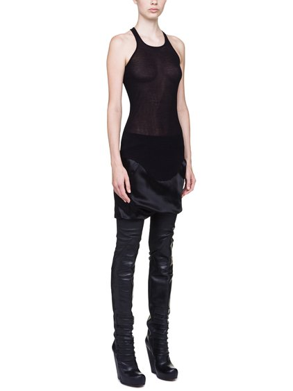 RICK OWENS BASIC RIB TANK IN BLACK VISCOSE SILK