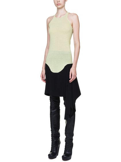 RICK OWENS BASIC RIB TANK IN LIME LIGHT YELLOW VISCOSE SILK