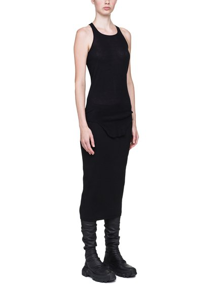 RICK OWENS BASIC RIB TANK IN BLACK MINI RIB COTTON JERSEY
