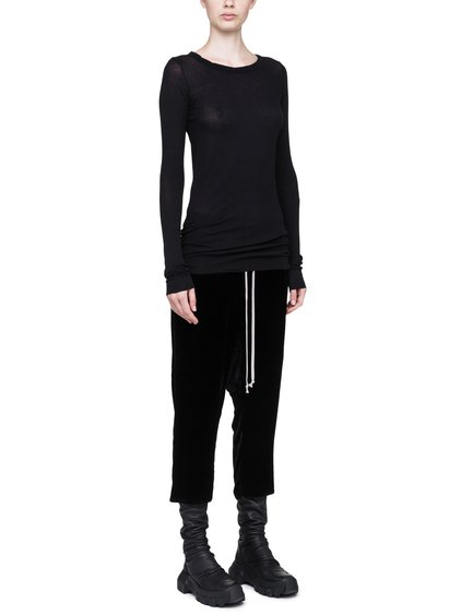 RICK OWENS LONG SLEEVE N BLACK MINI RIB COTTON
