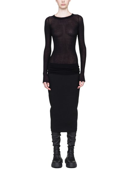 RICK OWENS LONG SLEEVE IN BLACK VISCOSE SILK RIB