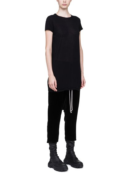RICK OWENS LEVEL SHORT-SLEEVE TEE IN BLACK VISCOSE SILK