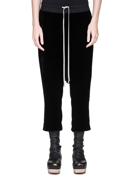 RICK OWENS CROPPED PANTS IN BLACK VELVET