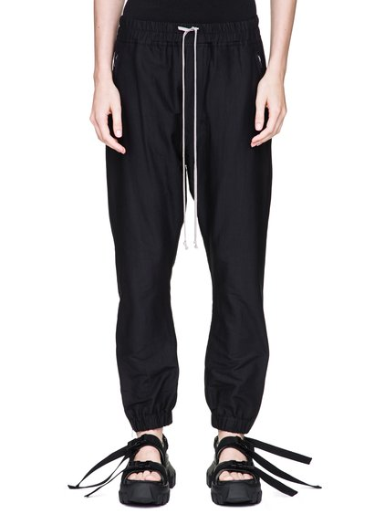 RICK OWENS TRACK PANTS IN BLACK SILK COTTON