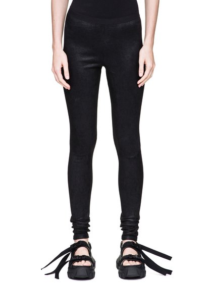 RICK OWENS LEGGINGS IN BLACK STRETCH LAMB LEATHER