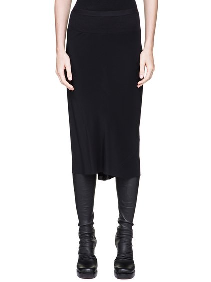 RICK OWENS  KNEE LENGTH SKIRT IN BLACK SILK CREPE