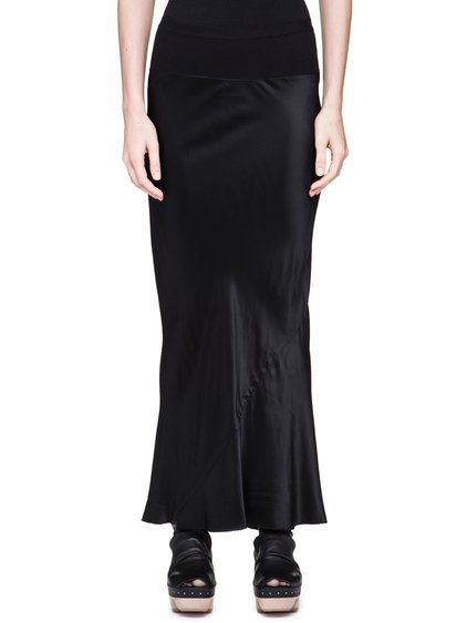 RICK OWENS CALF LENGTH SKIRT IN BLACK