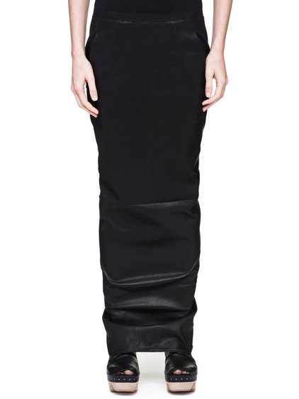 RICK OWENS SOFT PILLAR LONG SKIRT IN BLACK STRETCH CALF LEATHER