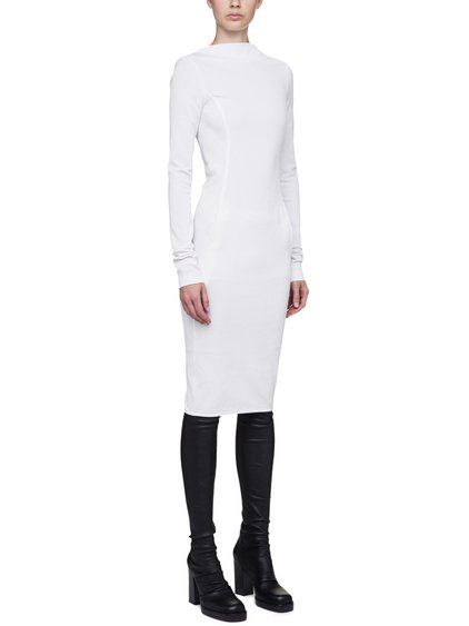 RICK OWENS LONG SLEEVE MARIA DRESS IN MILK WHITE