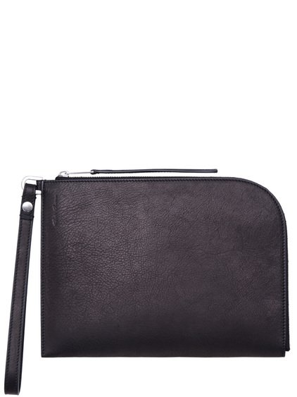 RICK OWENS MEDIUM ZIPPED POUCH IN BLACK CALF LEATHER