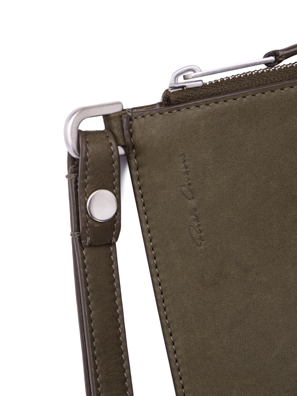 RICK OWENS MEDIUM ZIPPED POUCH IN DIRTY GREEN CALF LEATHER