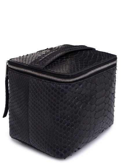 RICK OWENS SMALL TOILETRY BEAUTY CASE IN BLACK PYTHON LEATHER